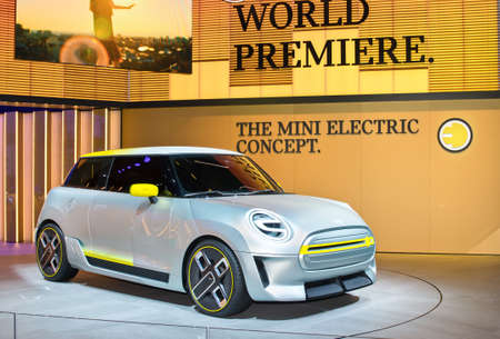 Frankfurt-September 20: World premiere of Mini Electric Concept at the Frankfurt International Motor Show on September 20, 2017 in Frankfurt