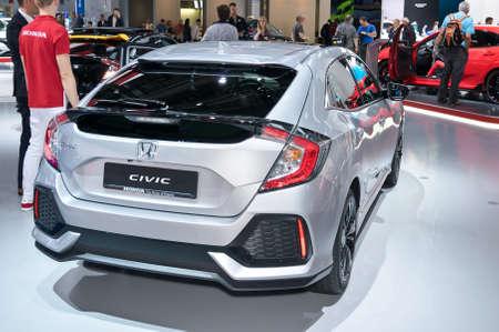 Frankfurt-September 20:  Honda Civic at the Frankfurt International Motor Show on September 20, 2017 in Frankfurt