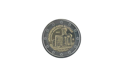 Commemorative 2 euro coin of Greece issued in 2017, dedicated to Archaeological site of Philippi  isolated on white