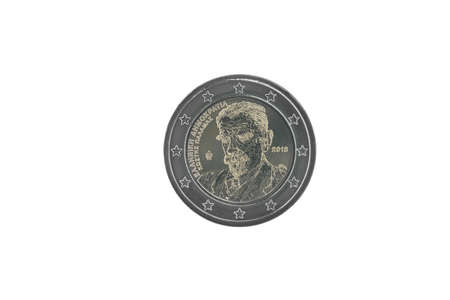 Commemorative 2 euro coin of Greece issued in 2018, dedicated to 75 years since the death of Kostis Palamas  isolated on white