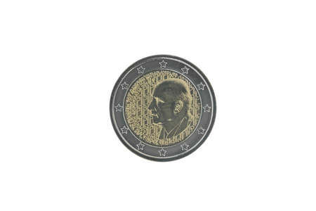 Commemorative 2 euro coin of Greece issued in 2016, dedicated to 120 years since the birth of Dimitri Mitropoulos  isolated on white