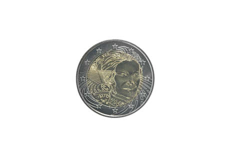 Commemorative 2 euro coin of France issued in 2018, dedicated to Simone Veil isolated on white Imagens