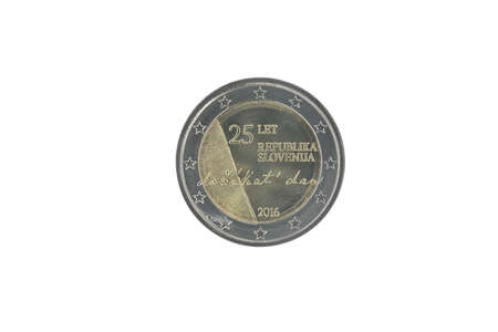 Commemorative 2 euro coin of Slovenia issued in 2016, dedicated to 25 years of independence  isolated on white