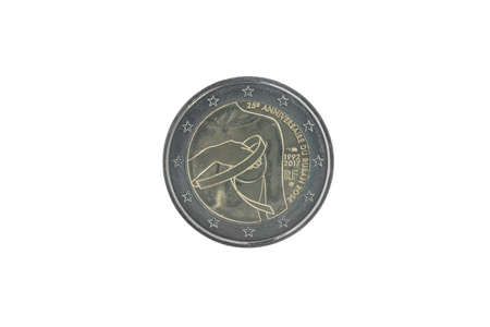Commemorative 2 euro coin of France issued in 2017, dedicated to 25 years of Breast cancer awareness isolated on white