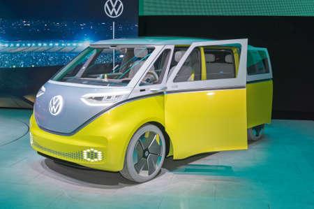 Frankfurt-September 19: Volkswagen ID.Buzz cencept at the Frankfurt International Motor Show on September 19, 2019 in Frankfurt, Germany