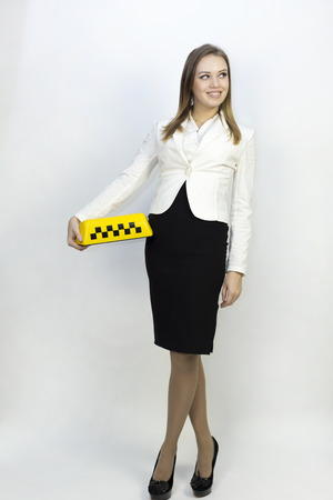 dispatcher: Taxi - girl dispatcher and other materials on the topic of taxi. Taxi industry - dispatcher work reception of orders waiting for the car, telephone conversations. Isolated on white background, convenient for your advertising