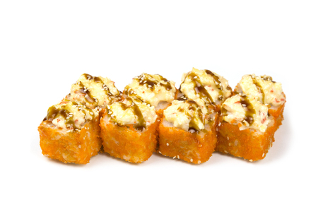 Sushi rolls on a white background. Japanese cuisine sushi rolls of different kinds on a white background isolated