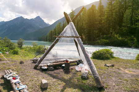 Awesome weatherproof shelter. Hut wigwam shelter for tourists