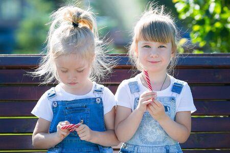Zwei Mädchen essen Süßigkeiten im Park. Zwei Mädchen haben viele Süßigkeiten. Süßes Mittagessen am Wochenende