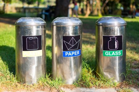 Metal bins for garbage collection.