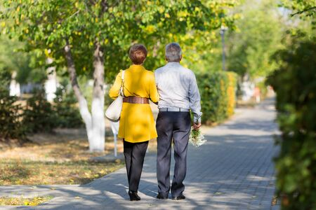 Retired husband and wife walk along a beautiful sidewalk in a city park. Elderly married couple rear view.