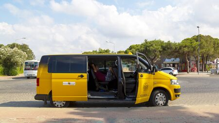 The minibus is a roomy taxi for transporting passengers.