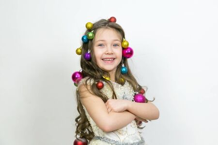 The joy of the child from the New Year holidays The girl experiences happiness from the coming Christmas,