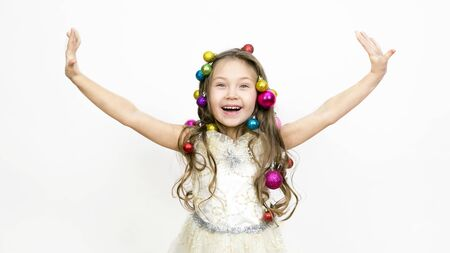 The joy of the child from the New Year holidays The girl experiences happiness from coming Christmas, Фото со стока