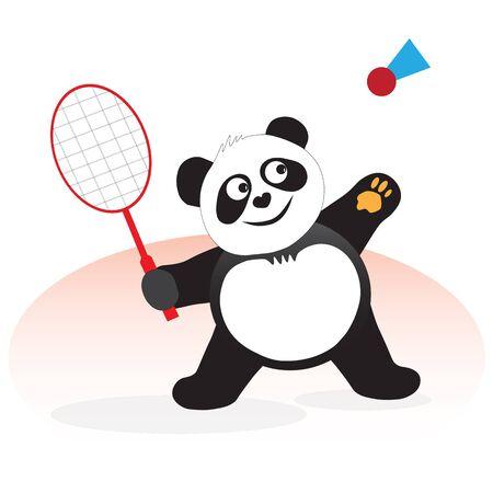 The panda bear plays badminton, beats a sports valan with a racket. Ilustracja