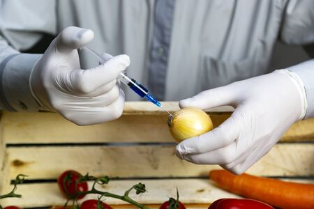 Chemical processing of vegetables, fertilizers and GMOs. A man injects chemicals into the onions, GMO fertilizers and chemicals with syringe to increase the shelf life of vegetables Reklamní fotografie