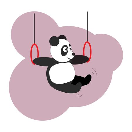 Panda does gymnastics on the rings. The panda bear participates in sports competitions in gymnastics, ring exercises.