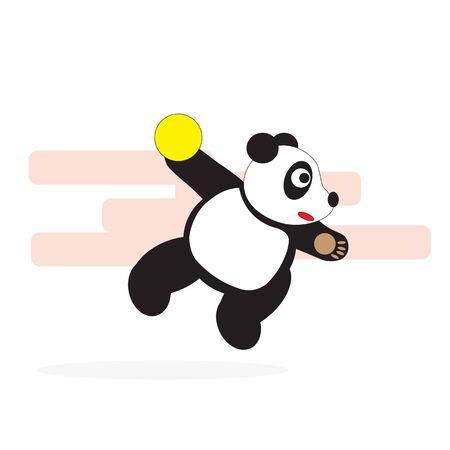 A panda bear throws a ball in a jump playing handball. Ilustrace