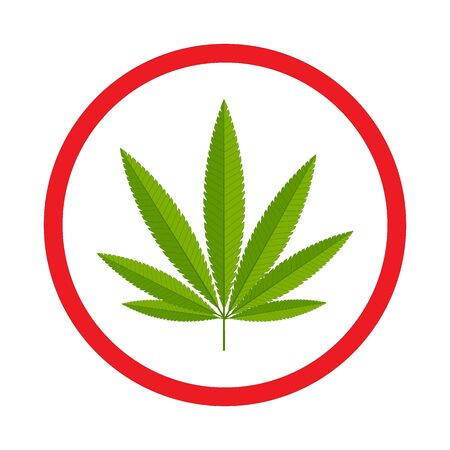 Cannabis branch on a white background with a round red stroke, a sign to attract attention.