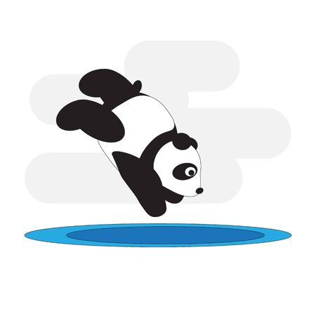 Panda bear competes in diving competitions.