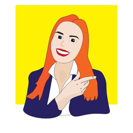Woman businessman with bright dyed hair with a wide smile shows a finger to the side.