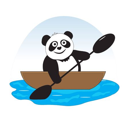 The panda bear is engaged in water sports, rowing. Ilustrace
