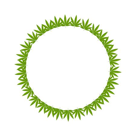 Round place for text framed by hemp leaves, a ball of regular shape, a blank for design. Ilustrace