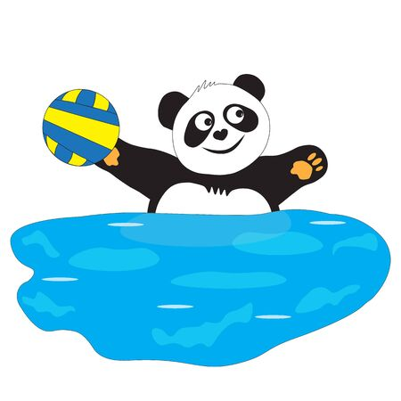 Sports game in the water with the ball, panda bear throws the ball. Ilustrace