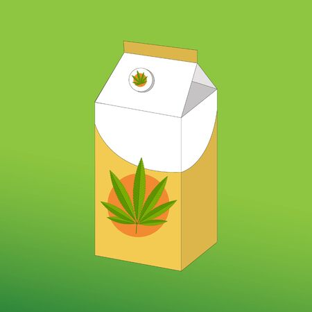 Canabis milk in a tall box of white yellow with hemp leaf emblem on a green background.