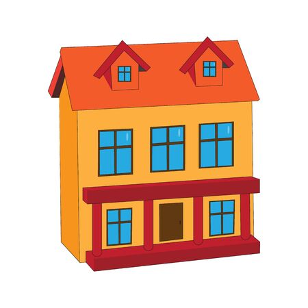 Model of a yellow two-story residential building with a red roof.