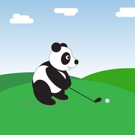 A panda bear on a golf course makes a putter on the ball.