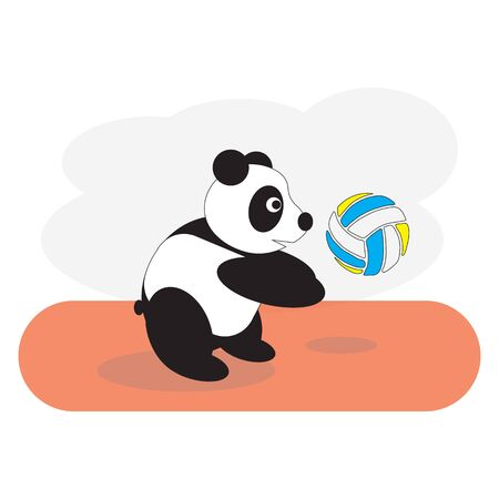 The panda bear plays volleyball, beats the flying ball. Ilustrace