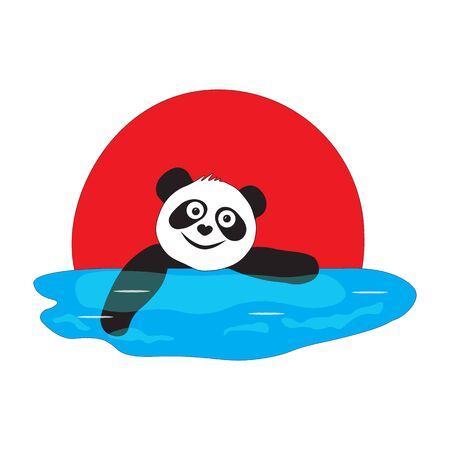A panda bear is swimming in a pool at a competition in Japan. Ilustrace