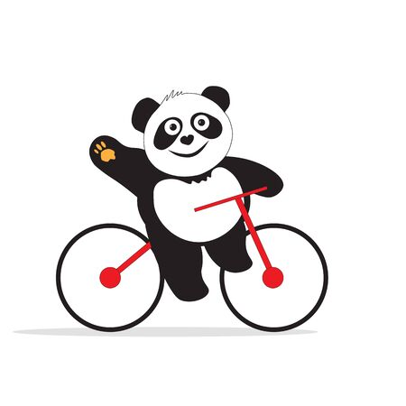 The panda bear is engaged in cycling at the competition, happily waves his hand. Ilustrace