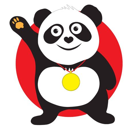 Panda bear the winner of the competition at the awards ceremony, a gold medal around his neck.