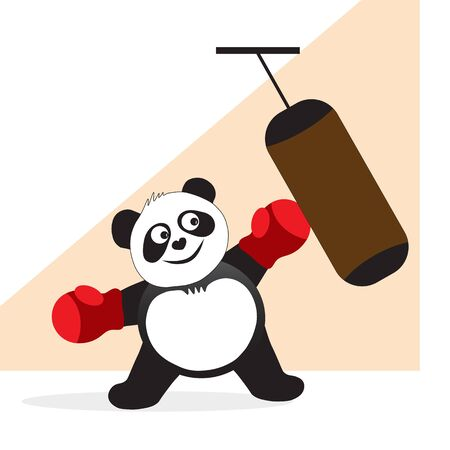 A panda bear in sports gloves is engaged in training, working out shock equipment.