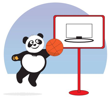 The panda bear plays basketball, throws the ball into the ring of a basketball backboard. Ilustrace
