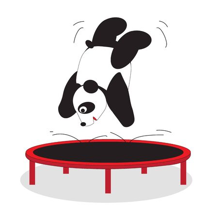 Panda bear goes in for sports, trampoline competitions.