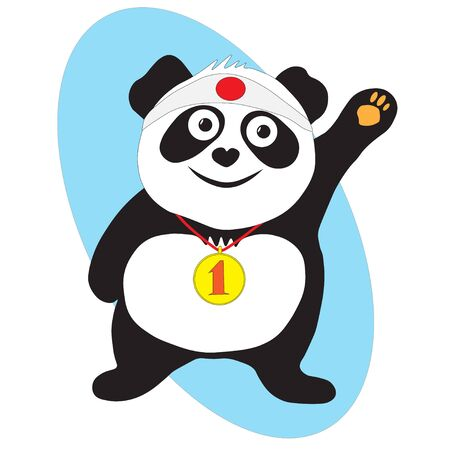 A beautiful panda bear is the winner , a gold medal for first place on his neck.