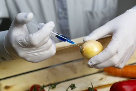 A man injects chemicals into the onions, GMO fertilizers and chemicals with a syringe to increase the shelf life of vegetables.
