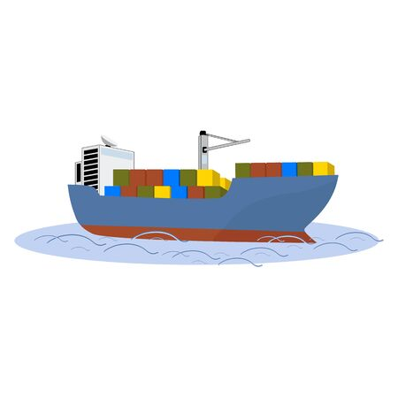 Sea liner for transporting large containers, isolate on a white background. Vector illustration. Ilustrace