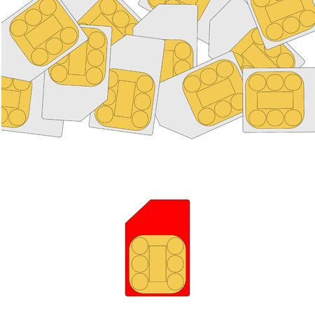 Concept, confrontation of sim cards of a smartphone of a new and old generation. New technologies in cellular communications. Ilustrace