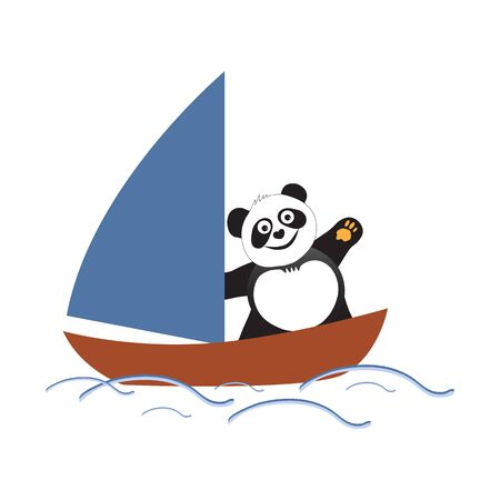 Bear panda athlete sailing in summer competitions. Vector illustration Ilustrace