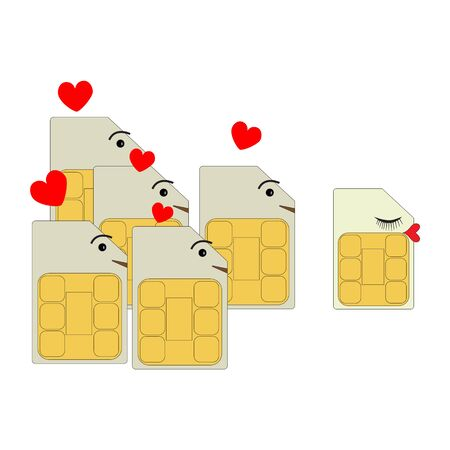 Sim cards in the form of men declare their love and look after the female SIM card of the smartphone.