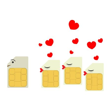 Sim cards in the form of women with hearts are recognized in love and look after the male SIM card of the smartphone. Ilustrace