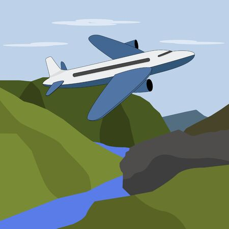 A large plane flies over the mountain peaks and the river. Ilustrace