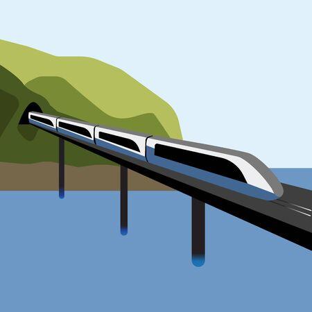 Un moderno tren eléctrico de alta velocidad para pasajeros sale de un túnel de montaña a través de un puente sobre el mar.
