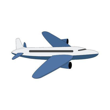 Avión de color blanco-azul aislado en un fondo blanco. Ilustración de vector.