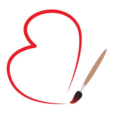 The artist paints a symbol of love on Valentines Day with a brush. Isolated on a white background.