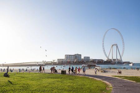 Dubai, United Arab Emirates 03 03 2020: Dubai Marina Beach. editorial Infrastructure and beach area of Dubai Marina